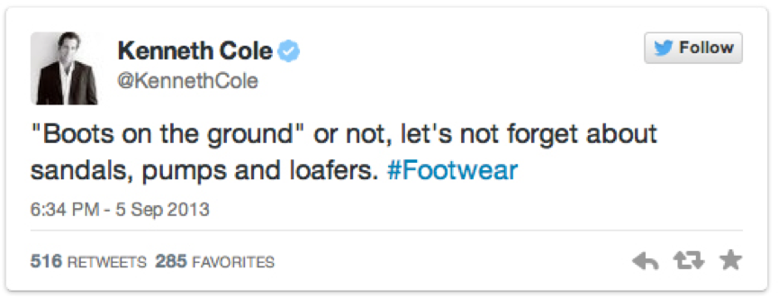 PR Fails – Kenneth Cole inappropriate tweet