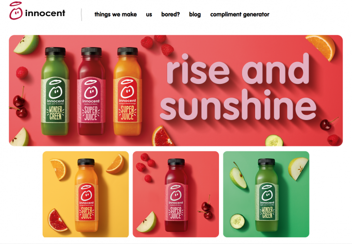 Innocent uses great creative design on its packaging and homepage