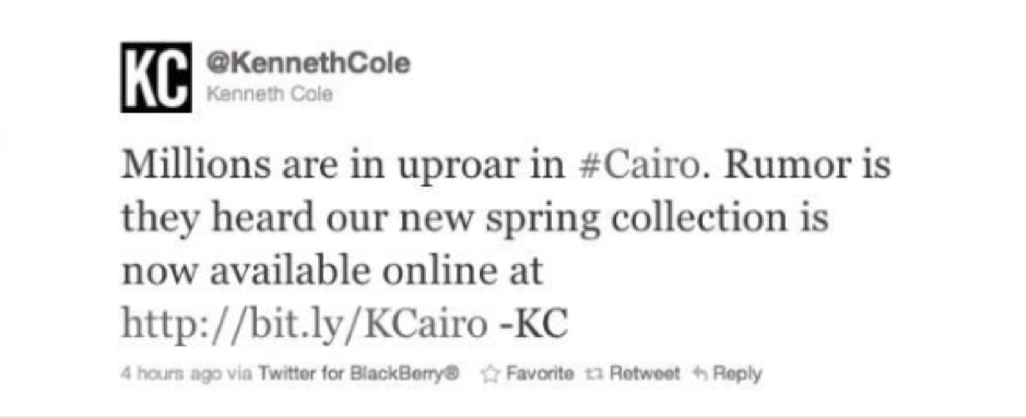 PR Fails – Kenneth Cole Cairo tweet