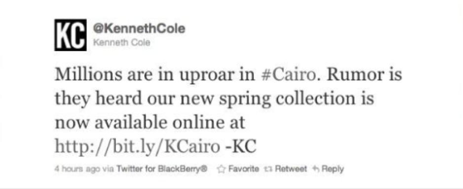 PR Fails – Kenneth Cole Cairo tweet