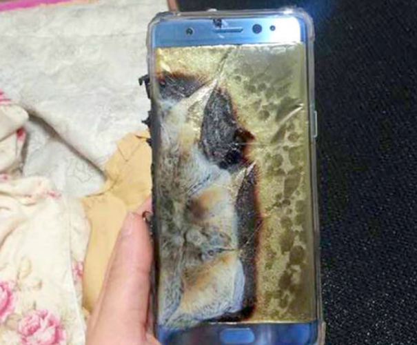 PR Fails – a burnt Samsung Galaxy Note 7