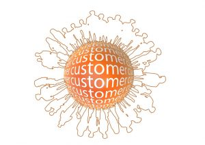 CRM strategy – customers around a ball.