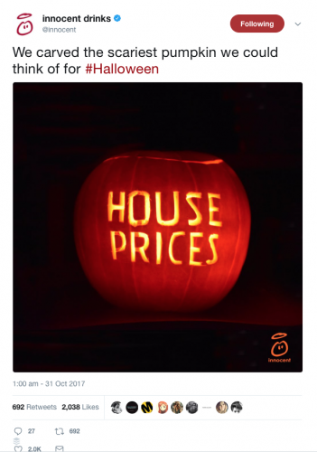 """Innocent social media marketing halloween post – pumpkin carved with the words 'House prices"""""""