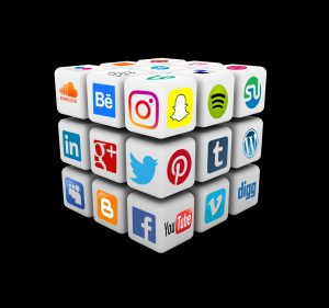 social media marketing icons arranged in a cube