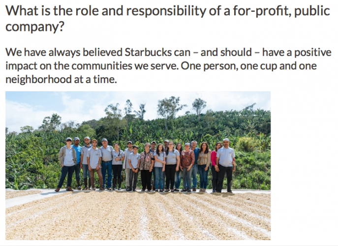 starbucks corporate responsibility project