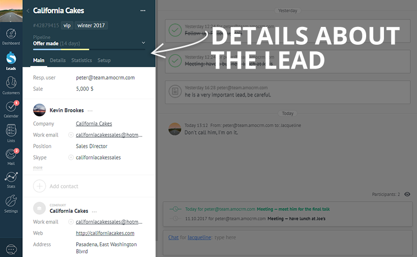 Lead capture – CRM